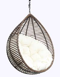furniture excellent rattan hanging egg chair with white fabric tufted seat as inspiring outdoor gardening