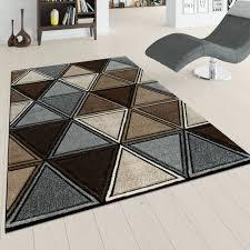 Kurzflor Teppich Rauten Design Braun Beige Grau