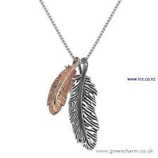 hot diamonds affirmative silver rose gold plate double feather pendant f9y7526826 clnoqvw026