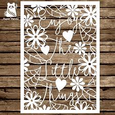 papercut diy design template enjoy the little things personal use