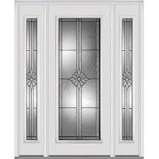 mmi door full lite decorative glass right hand inswing primed steel prehung entry door with sidelights and insulating core common 60 in x 80 in