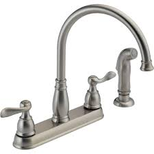 delta windemere 2 handle standard kitchen faucet with side sprayer in stainless