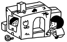 ダンボールで秘密基地を作る子どものイラスト 白黒ヤギさん フリー素材