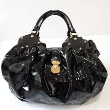 louis vuitton mahina surya black patent leather tote handbag
