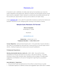 Cv Objective Examples Uk Professional Resumes Auto Mechanic Resume