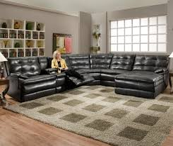 u shaped black leather tufted power reclining sectional for large living room furniture idea