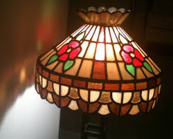 vtg tiffany style stained slag glass chandelier hanging lamp blue green brown carousel