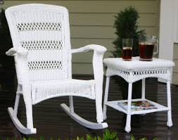 White Wicker Patio Furniture Rocking Chairs