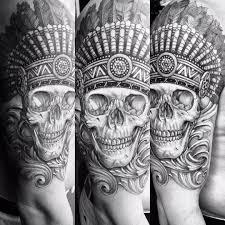 татуировка черепа индейца на плече парня фото рисунки эскизы
