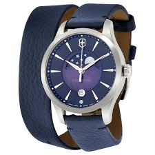 victorinox 241755 women s alliance leather double wrap blue dial