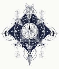 Fototapeta Rose Kompas Tričko Design Tetování Pro Cestovatele Horolezce