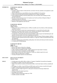 Warehouse Resume Warehouse Driver Resume Sample Templates Examples Samples Velvet 98