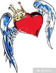 Fototapeta Vinylová Srdce S Wing Tattoo