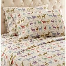 micro flannel 4 piece colorful deer king polyester sheet set