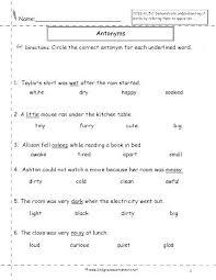 Antonym And Synonym Worksheets Worksheet Fun And Printable