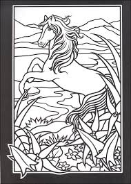 Wild Horses Stained Glass Coloring Book Coloring Pages For Adults