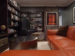masculine wall art Home Theater Contemporary with barn door bookshelves  chest. Image by: Lizette Marie Interior Design