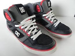 dc shoes high tops red and black. mens boys dc shoe co skateboard shoes hi tops black red grey size 8 skate high and r
