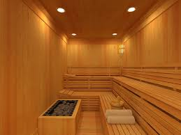 highgrove modern home sauna with l shape long bench also round recessed ceiling lamp plus open