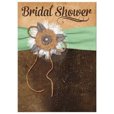 Great shabby chic mint green and brown bridal shower invitation with  burlap, leather, ...