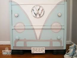 colorful painted furniture. Volkswagen Bus Painted Dresser, Paint Colors, Furniture Colorful