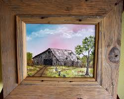 oil painting of an old barn with authentic old barn wood frame oil painting of an