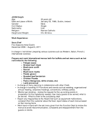 Sample chef-cv for overseas jobs. JOHN Smyth Age: 26 years old Date and  place of Birth: January 03, ...
