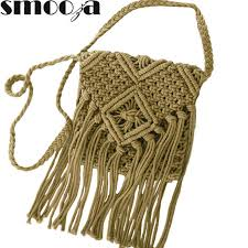 SMOOZA Straw Bag Popular Summer Cotton Rope <b>Hollow Tassel</b> ...