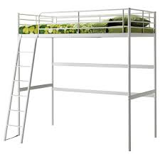 white metal ikea bunk bed with stairs with green bedsheets