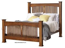 Craftsman Spindle Queen Bed with Inlay CRW-BD