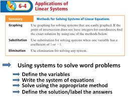 using systems to solve word problems define the variables write the system of equations