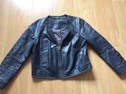 las massimo dutti navy soft lambskin leather jacket eu 42 xl uk 14