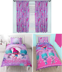 details about trolls glow childrens single duvet quilt cover matching curtains 4 optionen