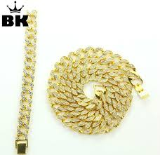 solid miami cuban link chain necklace gold color 30 iced out hip hop chain necklace