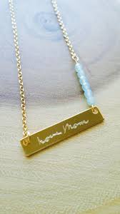 mothers day actual handwriting necklace personalized handwritten bar necklace gold end necklace custom hand writing jewelry my whys