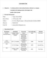 International Biodata Format 9 International Curriculum Vitae Free Sample Example