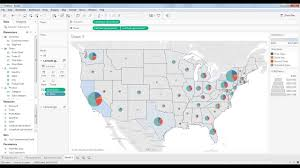 Sample Map With Pie Chart With Dual Axis In Tableau Desktop