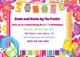 Hawaiian Pool Party Invitations Luau Pool Party Invitation Birthday Party Baby By Alohapartyprints