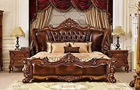 california king bed. Ma Xiaoying California King Bed,Solid Wood Beech Frame,Genuine Leather,European Classic Bed