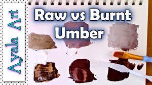 Umber Color Chart Raw Umber Vs Burnt Umber Vs Vandike Brown Color Chart Art Painting Tutorial