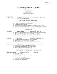 Sample Chronological Resume Template Sample Chronological Resume