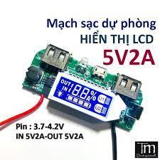 Mạch Sạc Dự Phòng 5V2A Hiển Thị Dòng Sạc LCD chính hãng 55,000đ