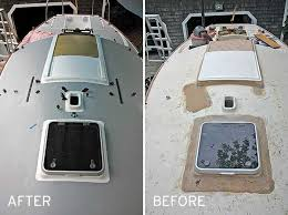 before and after photos of deck repainting from the bow