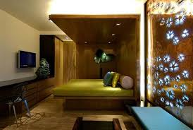 modern false ceiling for bedroom wooden material with led lighting