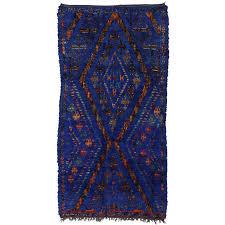 vintage beni ourain moroccan rug cobalt blue berber moroccan tribal rug