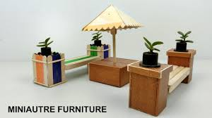 how to build miniature furniture. DIY Miniature Outdoor Furniture | Bench \u0026 Table - Popsicle Stick Crafts How To Build N