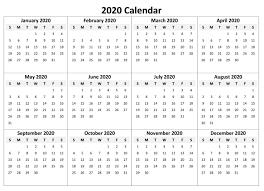 2020 Calendar Template Pdf Word Excel Format Download