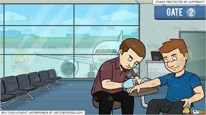 clipart cartoon a man getting a wrist tattoo and airport boarding gate background