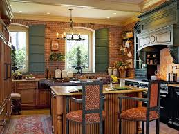 Red Brick Flooring Kitchen Cream Nuance Kitchen Exposed Brick Wall White Shelves With Wooden