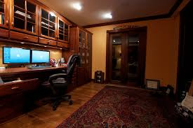 home office work station. Sophisticated Home Study With A Dual Monitor Work Station. Office Station